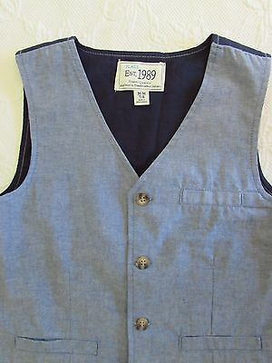 Boys TCP The Children's Place Navy Chambray Blue Button front Vest Medium 7/ 8