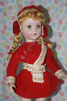 "SO PRETTY!!! Vintage 20"" Nanette Ice Skater All Original Red Corduroy Outfit K"