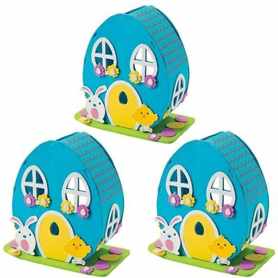 Set of 3 DIY Craft Kits with Easter Bunny & Chick Foam House