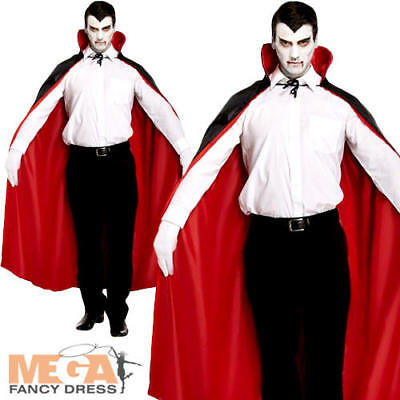 Reversible Red Cape Mens Fancy Dress Halloween Vampire Adults Costume Accessory