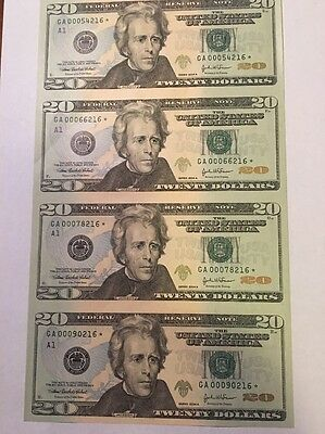 $20 2004A FEDERAL RESERVE STAR  NOTES UNCUT SHEET OF 4 Boston