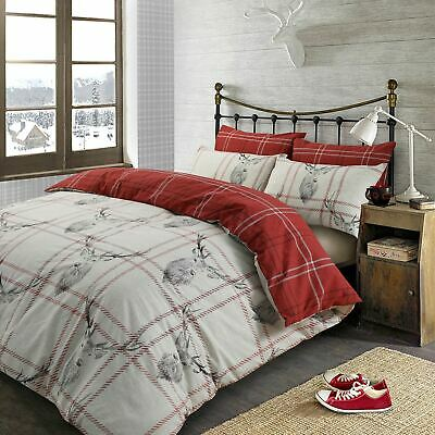Stag Deer Duvet Cover with Pillow Case Tartan Check Bedding Set Christmas Red