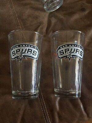 2 San Antonio Spurs Budweiser Team Pint Beer Glasses  USED Glass
