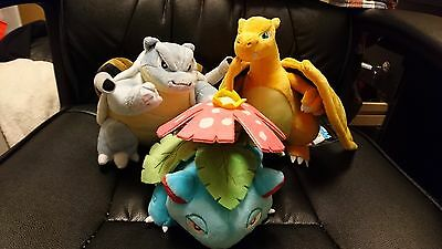 Pokemon center trio charizard + blastoise + venusaur plush toys 2016 rare NEW