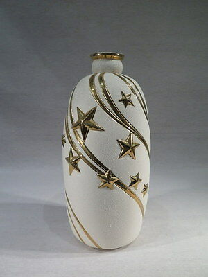 Sainte Radegonde Ancien Vase Decor D'etoiles Or Emaille 1940 Art Deco