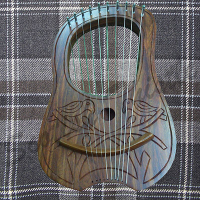 Engraved Lyre Harp Sheesham wood 10 Metal Strings Free Carrying Case + Key