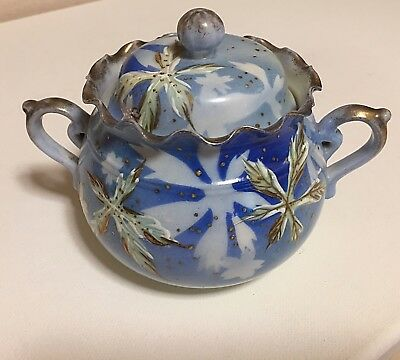 Vintage Blue Flowered China Sugar Bowl With Lid Ornate With Gold Trim