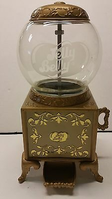 """2007 Jelly Belly Gold Metal Retro Gumball Machine Jelly Bean Dispenser 9"""" GLASS"""