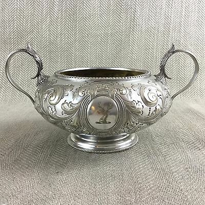 Antique Silver Plated Bowl Twin Handled Ornate Armorial Family Crest Victorian