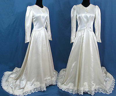 1940s Satin Wedding dress - Beaded neckline, Lace Edging on bottom & train