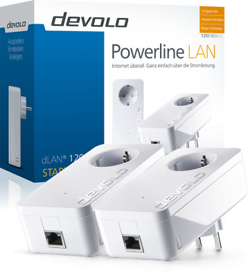 devolo dLAN 1200+ Starter Kit 1200Mbit, 2er Set, Powerline, 1xGB LAN, Steckdose