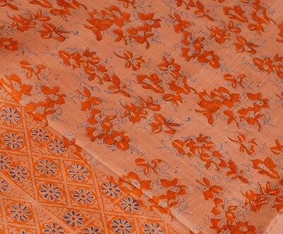 Vtg Silk Sari Saree Fabric Organza Floral Orange Pink Peach Salmon Blue India