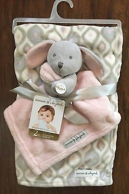 NWT Blankets & Beyond Pink Gray Bunny Security Crib Blanket Gift Set Lovey Nunu