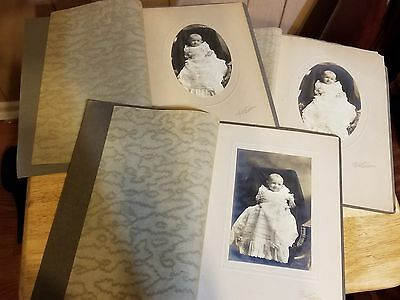 3-pc LOT Vintage/Antique Photos Baby in Baptism Dress Boy Matted Sepia Cummins