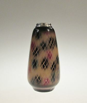 Antique vase with solid silver rim London 1927 Henry Williamson