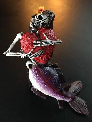 Skeleton Mermaid With Heart • Day of the Dead• by Claudio Jimenez FREE SHIPPING!
