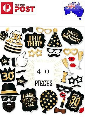 40 pcs 30th BIRTHDAY PHOTO BOOTH PROPS HAPPY BIRTHDAY PHOTO BOOTH PROPS
