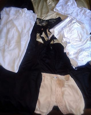 Job Lot Vintage Slips Suspenders Bras Girdle Nylon 10 Items k46