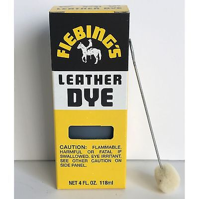 Fiebings USMC MILITARY BLACK Leather Dye 4 oz. with Applicator for Shoes Boots