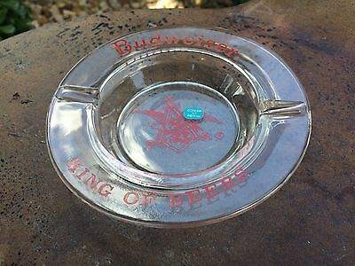 Vintage Budweiser glass Ashtray Eagle King of Beers NEW NEVER USED