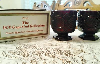 5 boxes available Avon Cape Cod 2 footed glasses set new in box Ruby Red glass
