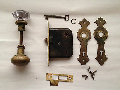 Vintage Glass Door Knob Brass Door Knob With Assembly and 1 Key