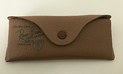 BAUSCH & LOMB Vintage RAY BAN Brown LEATHER Structured SUNGLASSES CASE Caramel