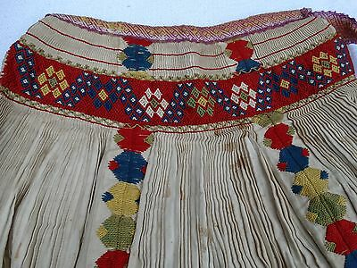 Antique Victorian Long Half Apron Embroidered Very Colorful