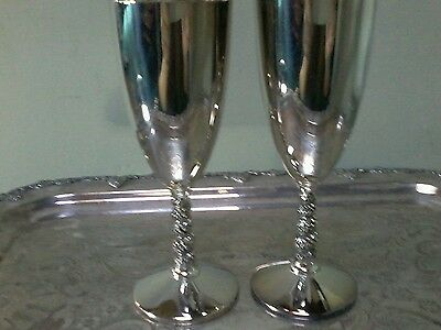 "Pair of Vintage Primrose Plate Birks Wine Goblets Cups 7"" tall"
