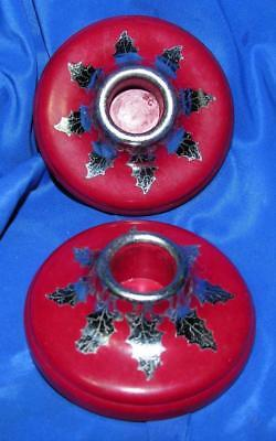 Pair Vtg 1930's Bakelite Red Xmas Deco Candle Holders, Silver Poinsettia Leaves