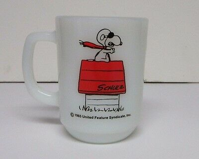 "1965 SNOOPY ""Curse You, Red Baron!"" COLLECTOR FIRE KING MUG Coffee Cup"