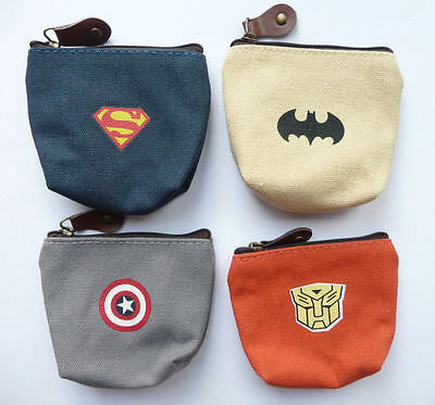 NEW SUPERHERO kids Zip Coin Purses. 4 different designs.