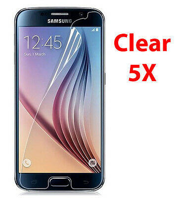 5 Pack Crystal Clear LCD Screen Protector Cover Film for Samsung Galaxy S6