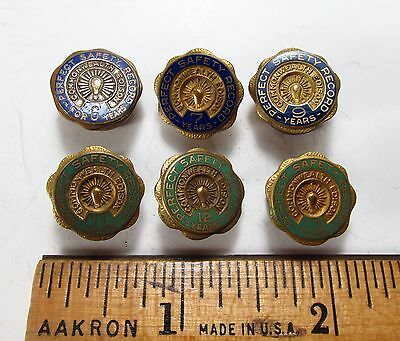 Vintage 1940s Lot 6 Commonwealth Edison Chicago Employee Safety Award Lapel Pins
