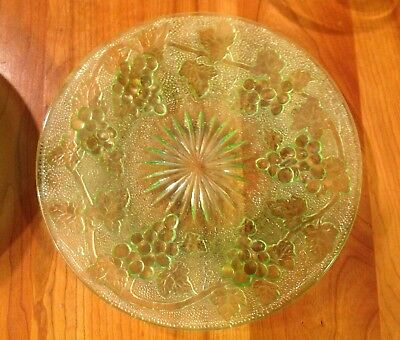 6 Antique EAPG Starburst And Grape W/ Vine Glass Plates 8 3/8""