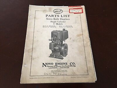 1930 Novo Rollr Engines Model U Single Cylinder Parts List Catalog Hit And Miss