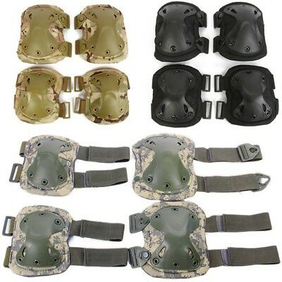 Pop Elbow Knee Pad Set Outdoor Tactical Paintball Game Airsoft Combat Protector