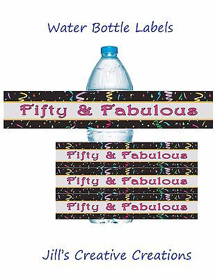 50th Birthday Water Bottle Labels, 50th Birthday, Birthday, Water Bottle Labels