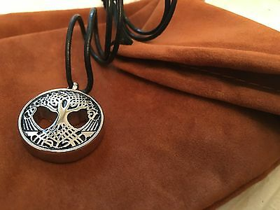 Tree of Life cremation keepsake ashes pendant with real leather necklace