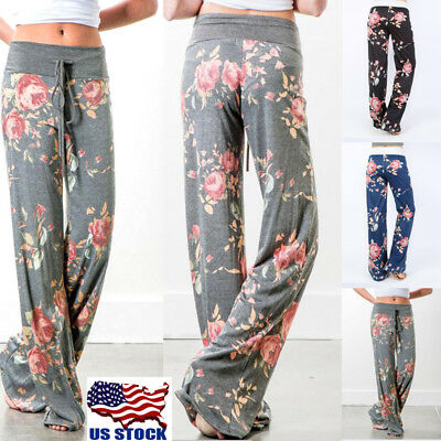 Women Comfy Soft Yoga Sports Floral Printed Loose Casual Pants Wide Leg Trousers