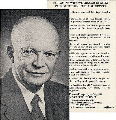 1956 Dwight Eisenhower 10 REASONS Reelection Campaign Card (2271)