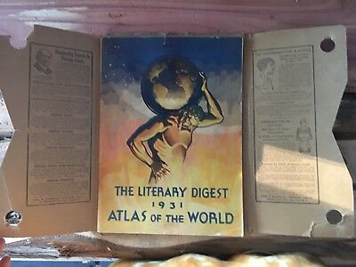 The Literary Digest 1931 Atlas Of The World With Original Shipping Cover