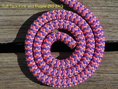 Tuff Tack Equestrian Pink and Purple ZIG ZAG 100% Polyester Double Braid Rope