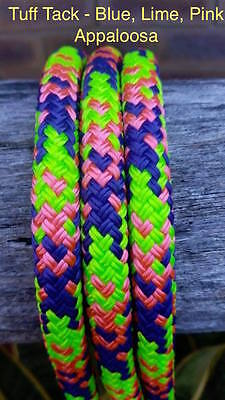 Tuff Tack Equestrian Appaloosa Blue Lime Pink 100% Polyester Double Braid Rope