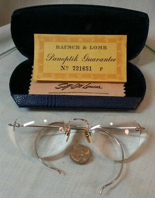 Antique Bausch & Lomb 1/10 12k White Gold Filled Rimless Wire Eye Glasses Case