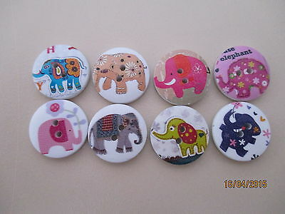 8 x 20mm Wooden Buttons All different ELEPHANT Designs 2 Holes - No.74