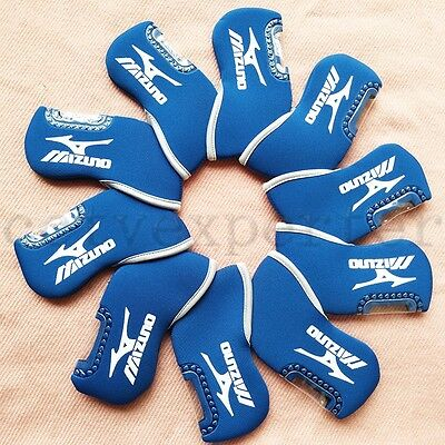 10pcs/set Blue Neoprene Window Golf Iron Head Cover Headcover For Mizuno