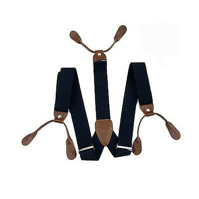 25mm Navy with Brown Unisex Elastic Braces Suspender Leather Button Holes UK 304