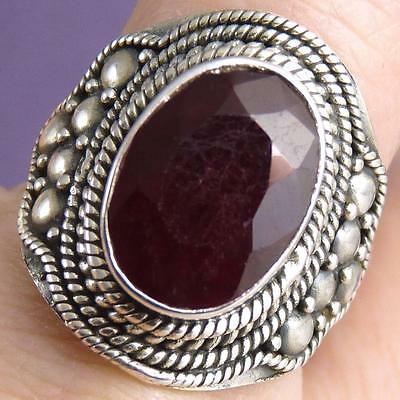 Gemstone Vintage US 8.25 SILVERSARI Ring Solid 925 Sterling Silver INDIAN RUBY