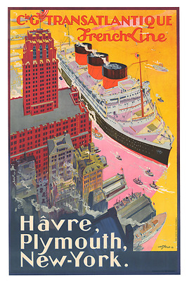 French Line Normandie Havre Poster  12 x 18